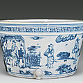 A blue and white porcelain censer. ming dynasty
