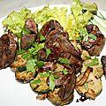 Foies de canards et courgette marinée à la plancha