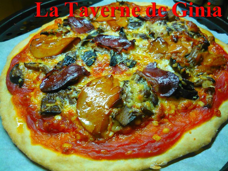 pizza au magret de canard s ch et bloc de foie gras la taverne de ginia. Black Bedroom Furniture Sets. Home Design Ideas