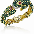 David webb.. an enamel, ruby and diamond frog bracelet