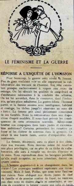 le feminisme et la guerre