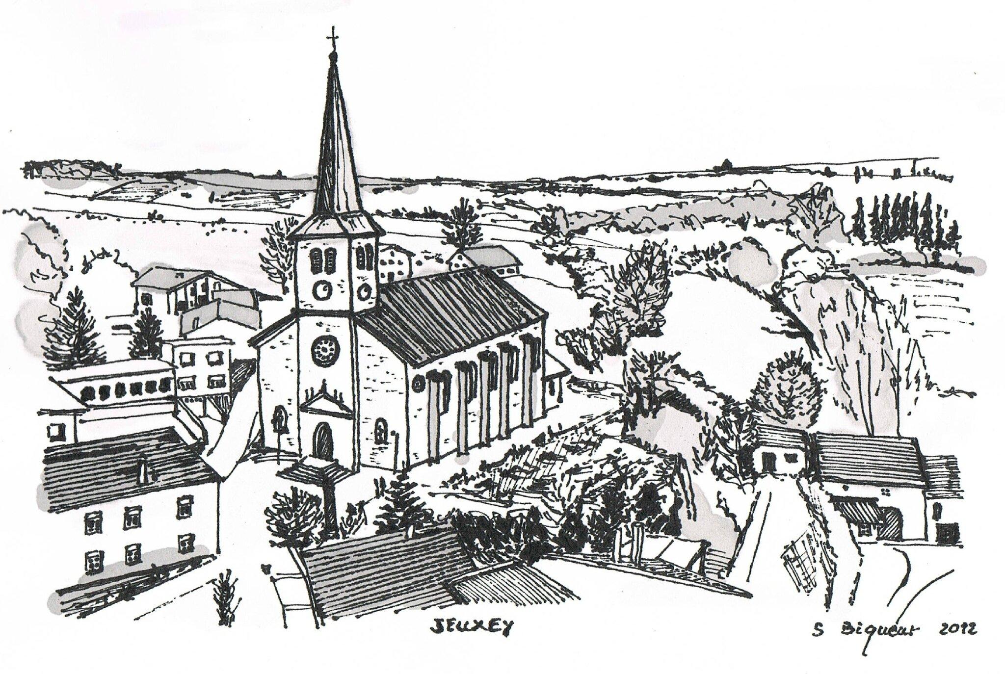 Jeuxey expotoiles - Dessin village ...
