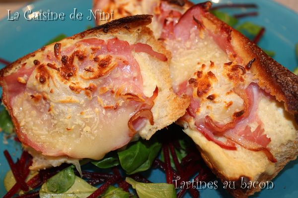 tartines au bacon
