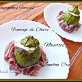 Courgettes rondes farcies au fromage de chèvre et noisettes