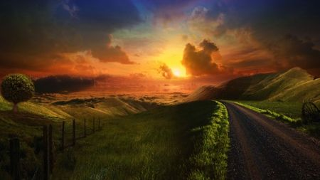 mysterious_road_beautiful_clouds_fields_grass_green_hills_nature_orange_skies_sun_sunrise_sunset_trees_550x309