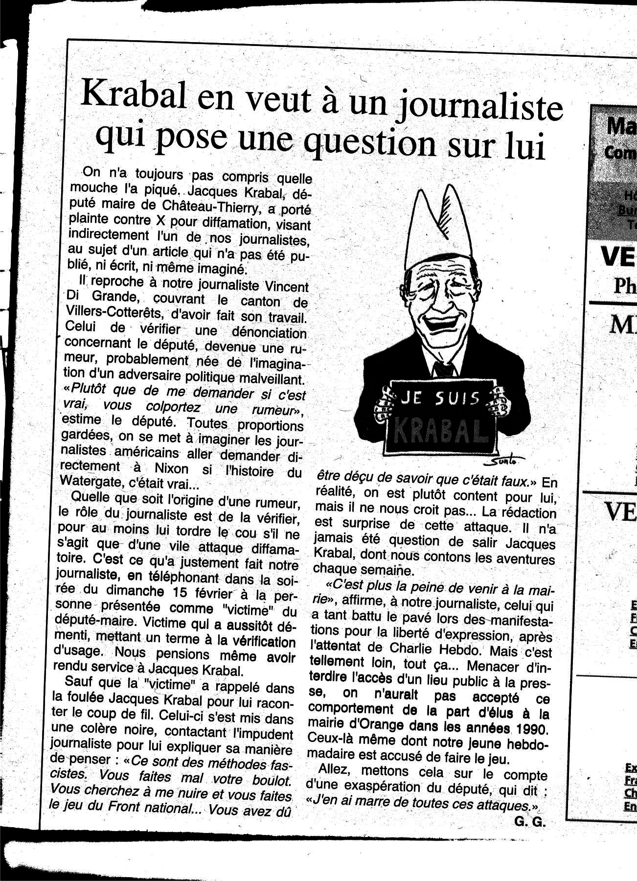 """Jacques Krabal n'est pas """"CHARLIE"""""""