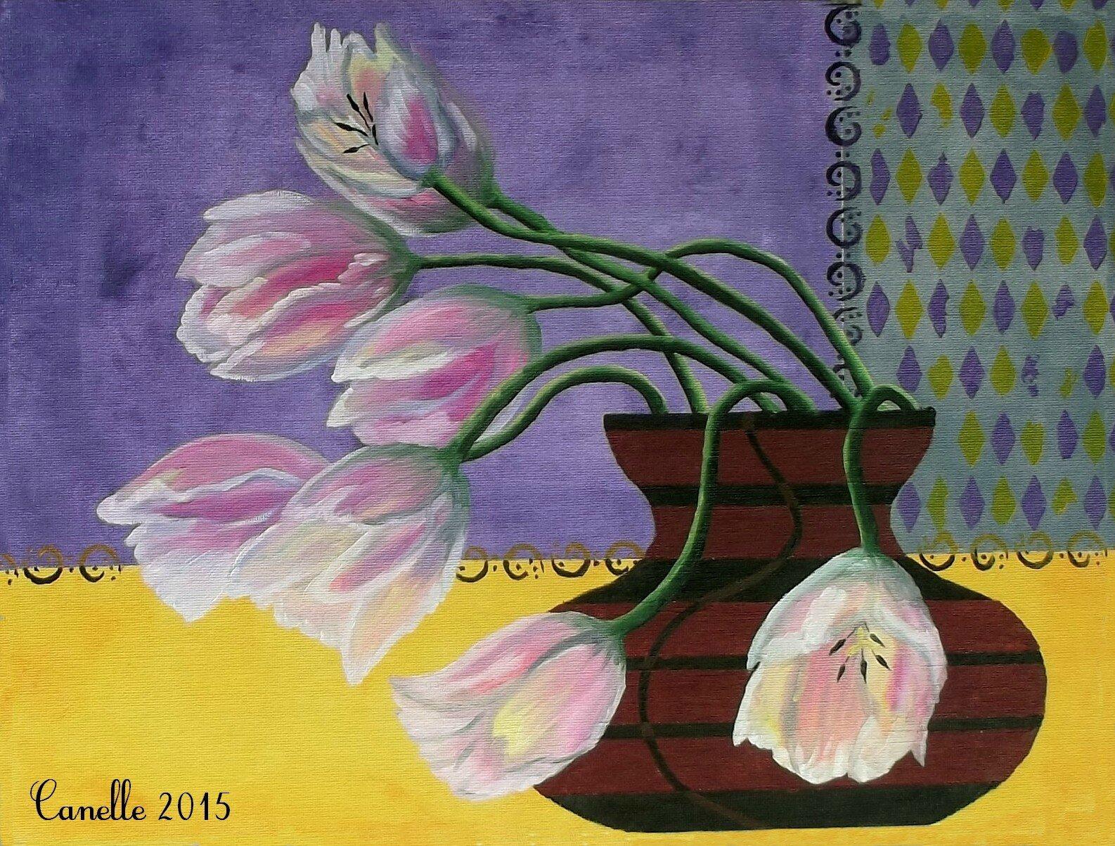 052 - Tulipes au vase taille de guêpe