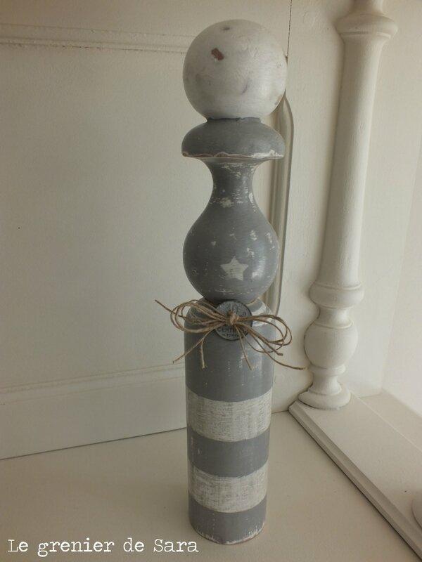 quille en bois grand modèle relookée en gris (3)