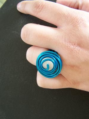 #1 - bague turquoise et galet marin