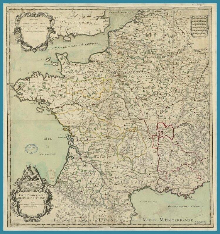 Gallica - 1690 Carte particulière des postes de Jaillot Alexis Hubert