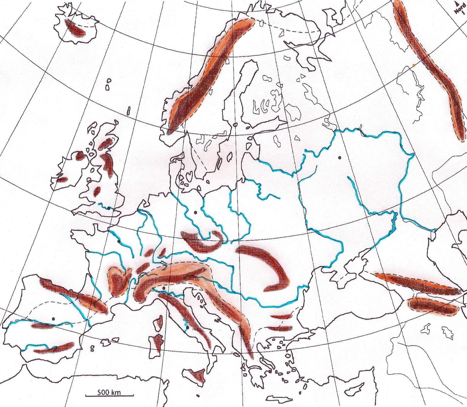 carte europe fleuves principaux