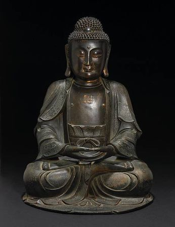 A_large_bronze_seated_Buddha