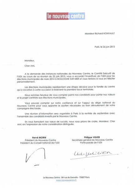 lettre d'investiture UDI Nouveau Centre
