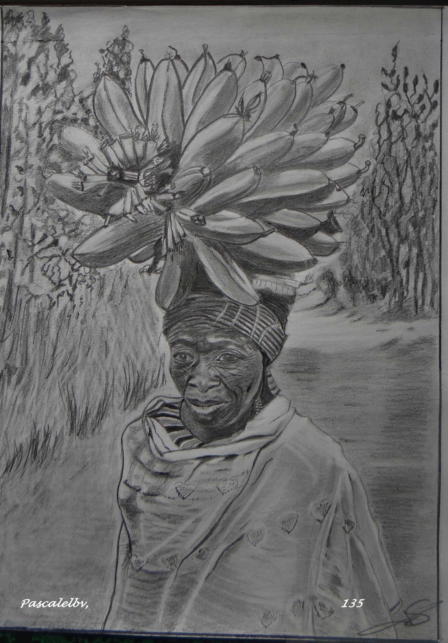 Une femme porte sur sa tête des bananes qu'elle va vendre au marché, ....Dessin réalisé au format A4, aux crayons graphites 3B, 9B et au porte mine 0.7, d'après une photo extraite du livre Afrique Noire de Didier Ruef