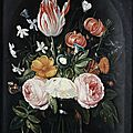 Circle of jan van kessel the elder, roses, a tulip, a small morning glory, jasmine, a red turban cup lily, rosemary and other fl