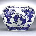 A blue and white jarlet with boys, mark and period of wanli (1573-1620)