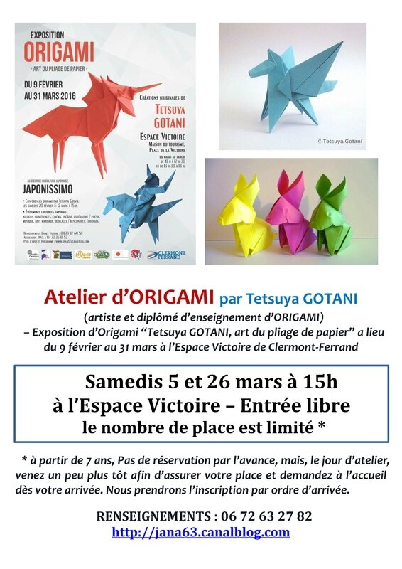 affiche Atelier Origami 2016 Expo