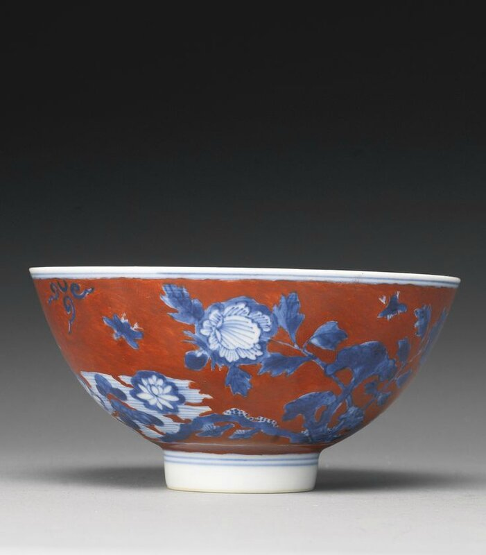 A rare iron-red ground and blue and white bowl, 17th century