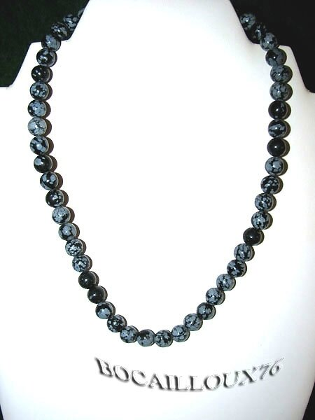 COLLIER OBSIDIENNE NEIGE 3 - Perles D.8