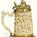 A german silver-gilt mounted ivory tankard, circa 1870