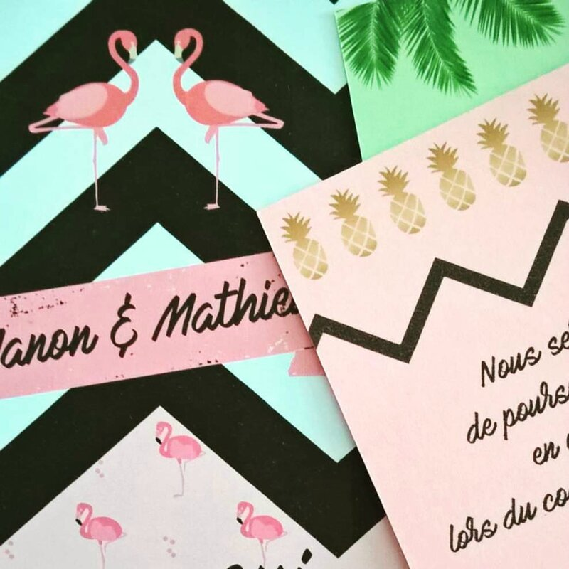 original tropical mariage wedding ananas pineapple flamingo flamant rose