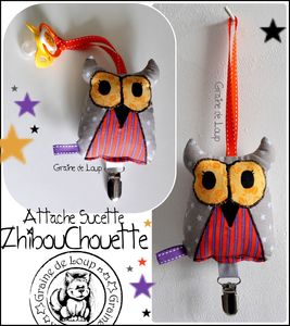 Attache sucette Zhibouhouette gris violet& orange