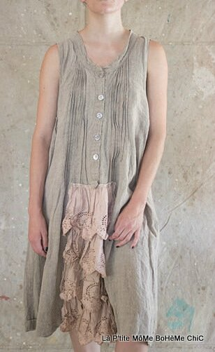01-MP linen Billie sleeveless tunic with pintuck & eyelet lace and ruffles Flax