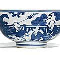 A blue and white 'boys' bowl, ming dynasty, jiajing-wanli period