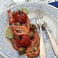 Crevettes aux olives et origan à la plancha