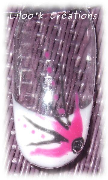 013 - french + décor hirondelle noir rose + strass 3