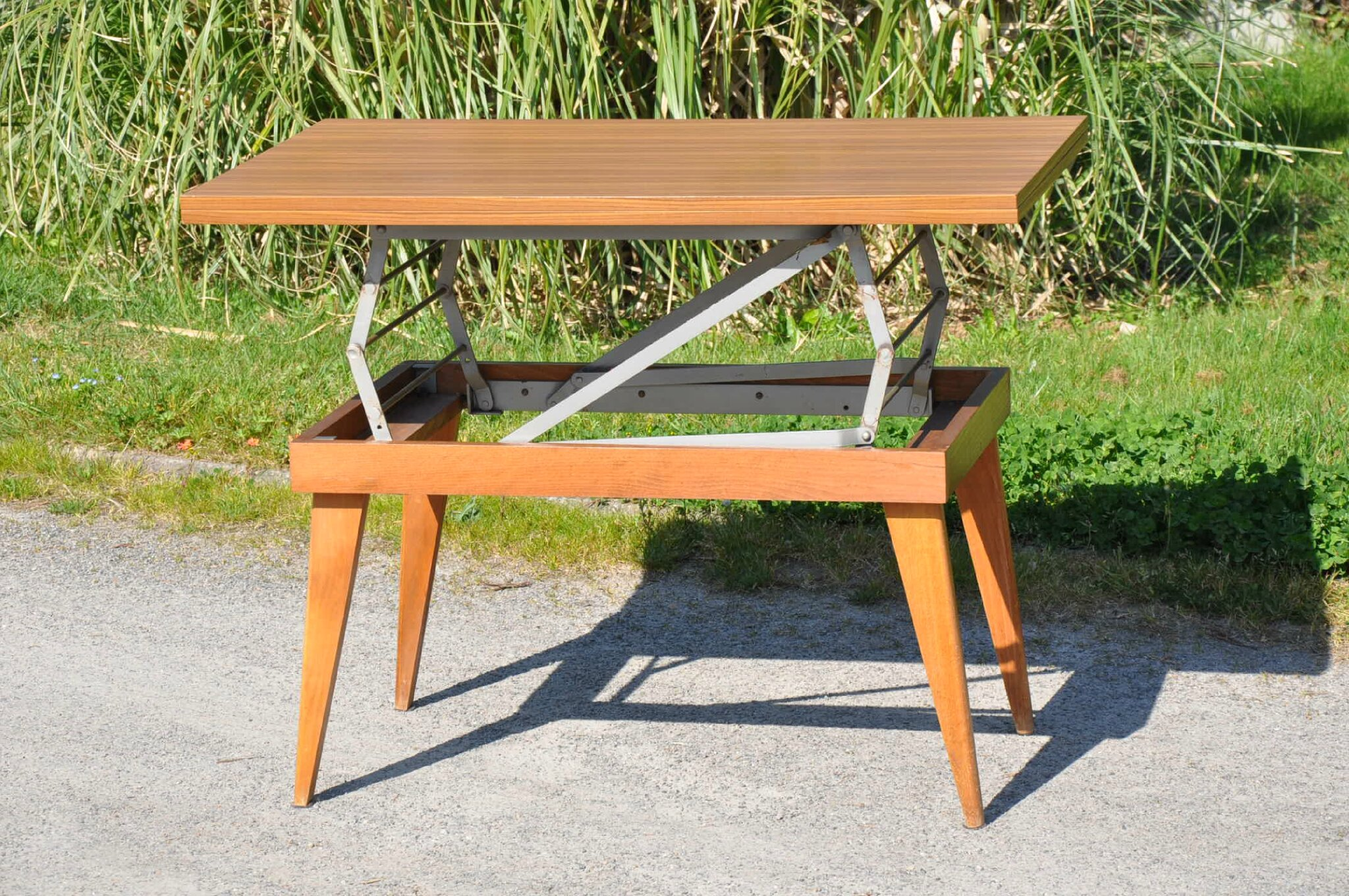 Table basse de jardin transformable - Table de salon reglable en hauteur ...