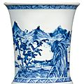 A blue and white landscape brushpot. qing dynasty, kangxi period