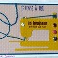 carte avec machine à coudre jaune