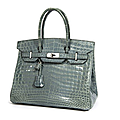 Herms Paris made in france. Sac Birkin 30 cm en crocodile niloticus bleu jean