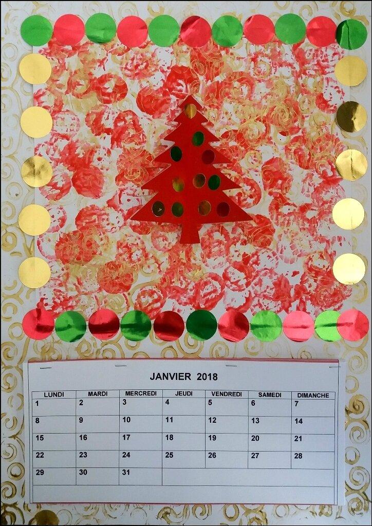 Carte ou calendrier Rouge et or