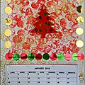 Carte ou calendrier rouge et or
