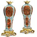 A pair of louis xv ormolu-mounted chinese porcelain vases, the gilt bronzes 19th century, the porcelain 18th century