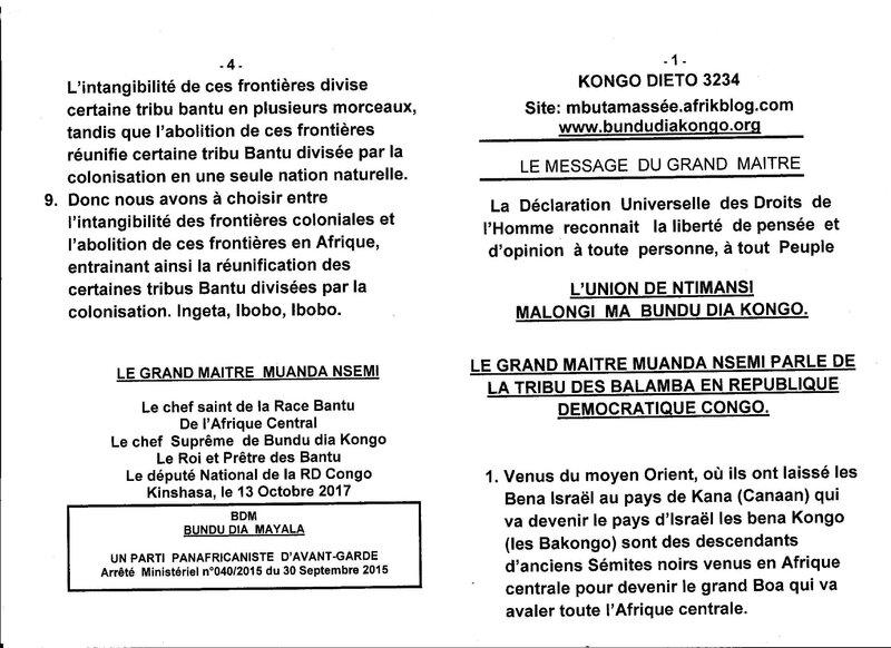 LE GRAND MAITRE MUANDA NSEMI PARLE DE LA TRIBU DES BALAMBA EN RDC a