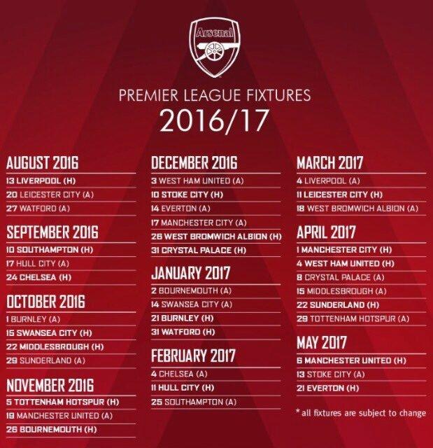 Calendrier 2016-2017 tout les matchs d'arsenal !