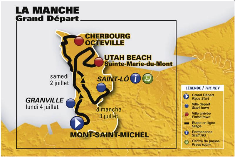 le Grand Départ du Tour de France cyclisme 2016 Manche carte étapes