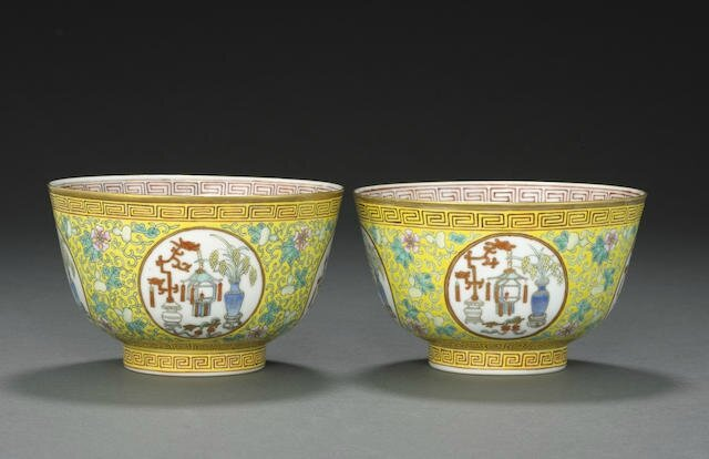 Two similar yellow ground famille rose medallion bowls, Guangxu six-character marks and of the period