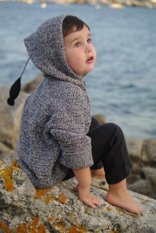 crocheter gilet capuche garçon
