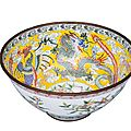 A magnificent Canton enamel bowl with dragon and phoenix, China, late Qing-dynasty (1644-1911)