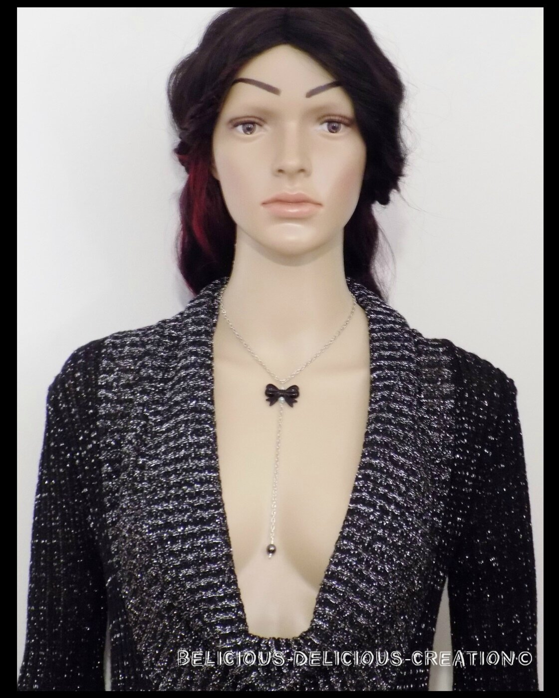 Original Collier !! BOW BOW !! noir T: 38cm metal et palstique collier BELICIOUS-DELICIOUS-CREATION