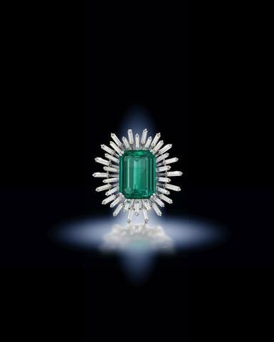 An emerald and diamond brooch and an emerald and diamond dress ring, circa 1965