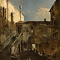Francesco guardi (italian, 1712-1793), a venetian courtyard