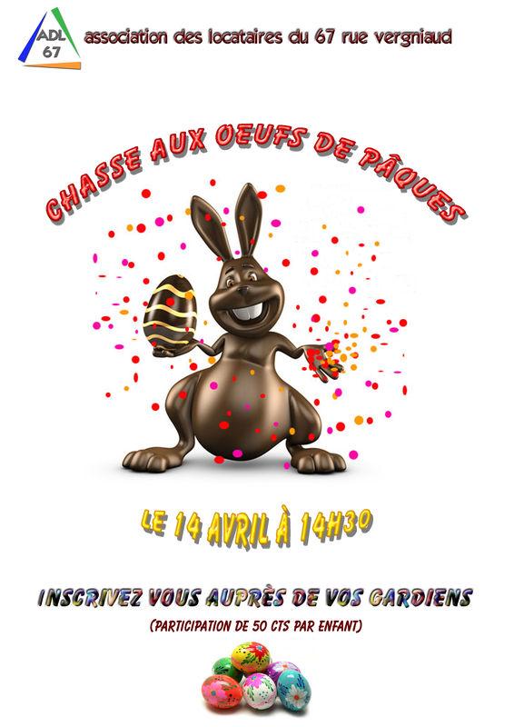 Chasse aux oeufs de Pâques - ADL 67 rue vergniaud