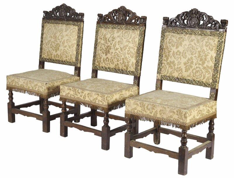 Suite de six chaises, Italie () XVIIe siècle