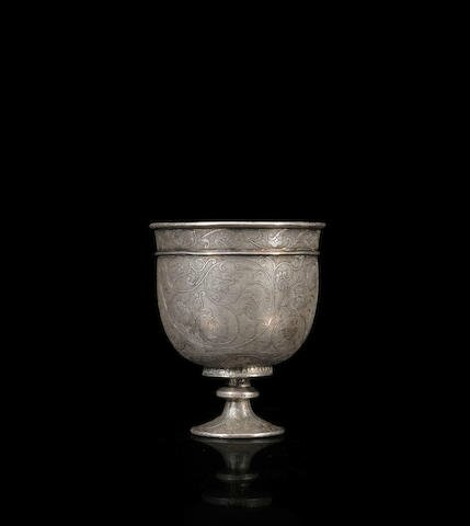 A fine silver stem cup, Tang dynasty, late 7th-early 8th century