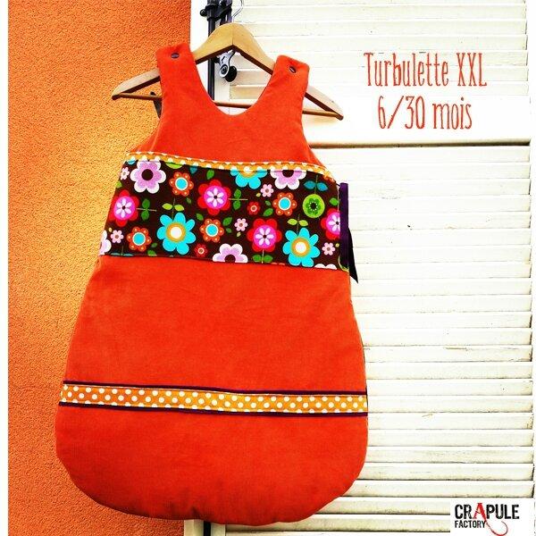 tubueltte xxl vintage fleur et velours milleraie orange bande orange pois 600 60044